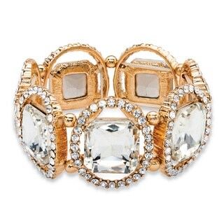 Bold Fashion Goldtone Cushion-cut and Round White Crystal Halo 8-inch Stretch Bracelet