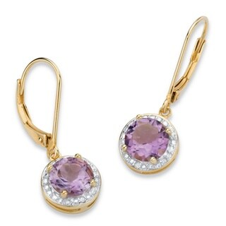 PalmBeach 14k Gold over Silver 2 1/2ct TGW Genuine Purple Amethyst and Diamond Accent Pave-style Halo Drop Earrings