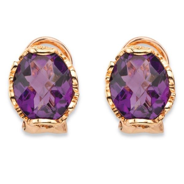 Rose Gold over Silver Oval-cut Simulated Purple Amethyst Faceted Earrings