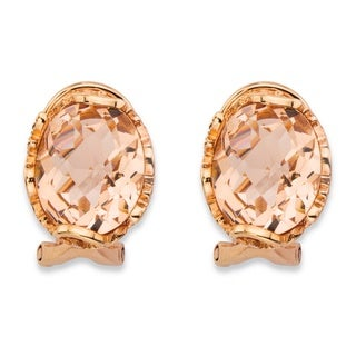 Rose Gold-plated Sterling Silver Oval-cut Simulated Pink Morganite Faceted Earrings