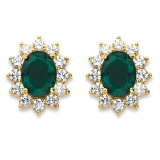 PalmBeach 14k Yellow Gold Oval-Cut Emerald Green Crystal Halo Stud Earrings