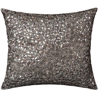 Mina Victory Luminescence Beaded Pewter Pewter Throw Pillow (16-inch x 16-inch) by Nourison