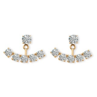 14k Yellow Gold over Silver 3 1/2ct TGW Round Cubic Zirconia Adjustable Ear Jacket Earring