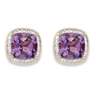 PalmBeach 14k Gold over Silver 2 7/8ct TGW Purple Amethyst and Diamond Accent Pave-style Halo Stud Earrings