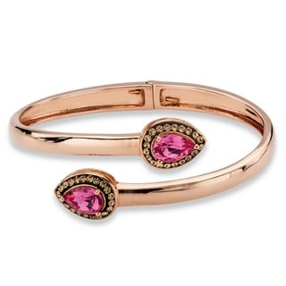 PalmBeach Rose Gold over Silver Pear-cut Rose and Smokey Crystal Halo Bangle