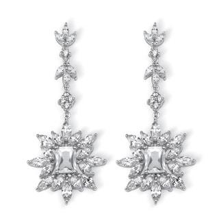 Platinum over Silver 11ct TGW Marquise and Emerald-cut Cubic Zirconia Starburst Drop Earri