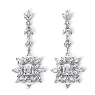 Platinum over Silver 11ct TGW Marquise and Emerald-cut Cubic Zirconia Starburst Drop Earri