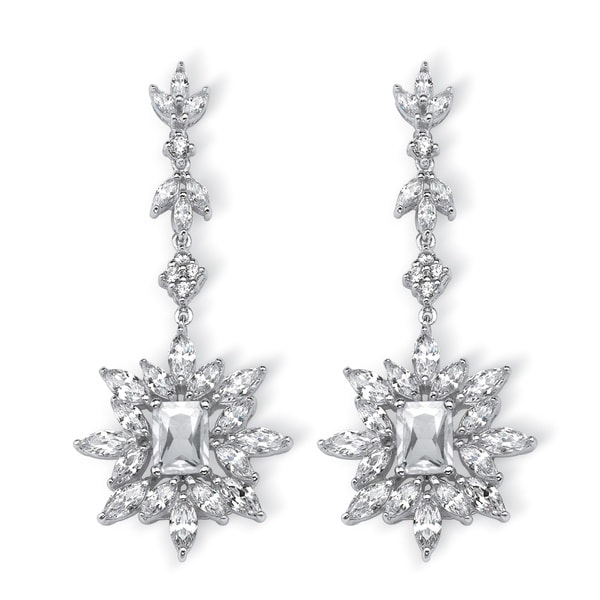 10.98 TCW Marquise and Emerald-Cut Cubic Zirconia Starburst Drop Earrings Platinum-Plated