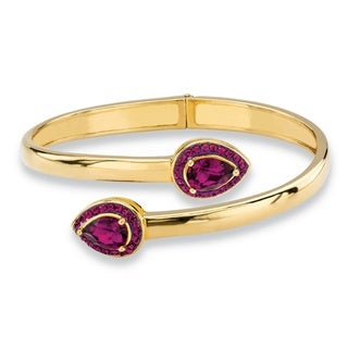 PalmBeach 14k Gold over Silver Pear-cut Amethyst Purple Crystal Halo Bangle Bracelet