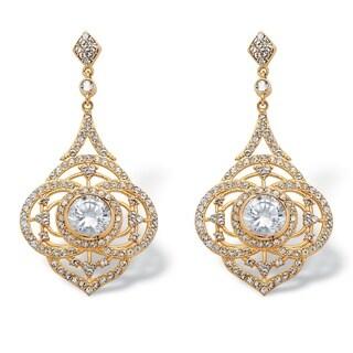 14k Gold over Silver 5ct TGW Bezel-set Cubic Zirconia Drop Earrings