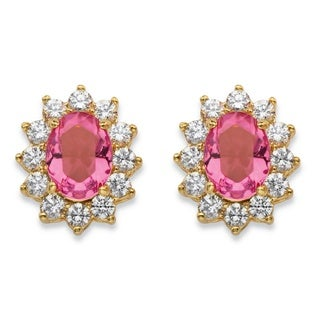 14k Yellow Gold-plated Tourmaline Pink Crystal and White Cubic Zirconia Halo Stud Earrings