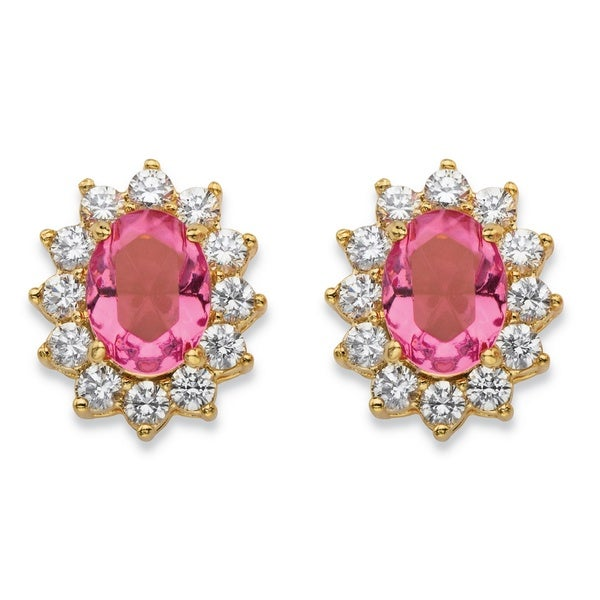 Tourmaline Pink Crystal And White Cubic Zirconia Halo Stud Earrings