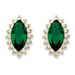 Women's 0.80-carat Marquise-cut Simulated Green Emerald Cubic Zirconia Halo Stud