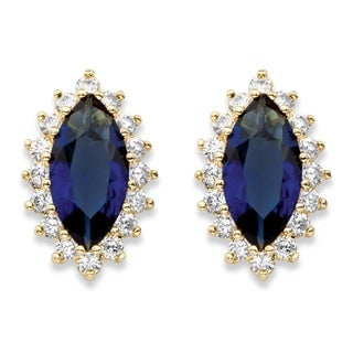 Yellow Gold-plated .80 TCW Marquise-cut Simulated Blue Sapphire/ Cubic Zircon