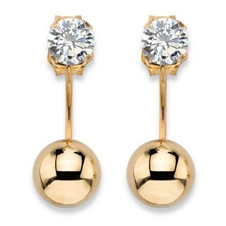 PalmBeach 10k Yellow Gold 1/2ct TGW Cubic Zirconia Martini Stud and Ball Ear Jacket Drop Earrings