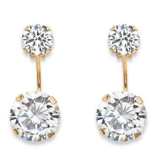 10k Yellow Gold 5ct TGW Round Cubic Zirconia Stud Ear Jacket Drop Earrings
