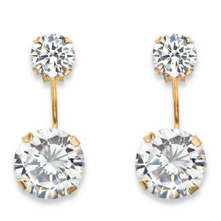 10k Yellow Gold 5ct TGW Round Cubic Zirconia Stud Ear Jacket Drop Earrings