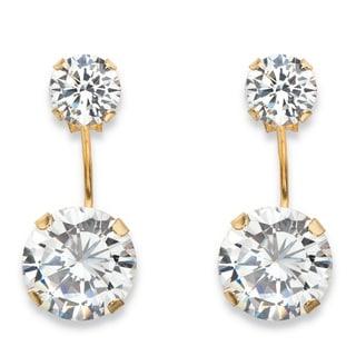 Link to 10k Yellow Gold 5ct TGW Round Cubic Zirconia Stud Ear Jacket Drop Earrings Similar Items in Earrings