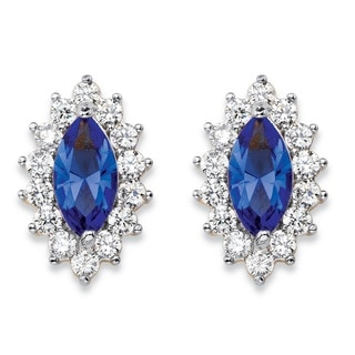 14k Yellow Gold over Silver 1ct TGW Marquise-cut Blue Crystal and Cubic Zirconia Halo Stud