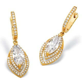 14k Gold over Silver 6 2/5ct TGW Marquise-cut Cubic Zirconia Double Halo Drop Earrings