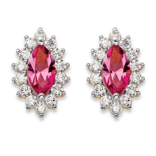 .98 TCW Marquise-Cut Pink Crystal and Cubic Zirconia Halo Stud Earrings 14k Yellow Gold-Pl