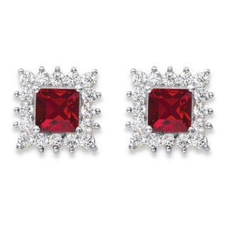 PalmBeach 14k Yellow Gold Princess-Cut Ruby Red Crystal and White Cubic Zirconia Halo Stud Earrings
