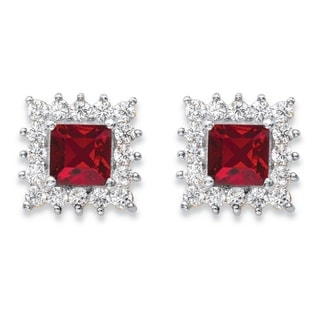 14k Yellow Gold Princess-Cut Ruby Red Crystal and White Cubic Zirconia Halo Stud Earrings