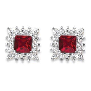 14k Yellow Gold Princess-Cut Ruby Red Crystal and White Cubic Zirconia Halo Stud Earrings https://ak1.ostkcdn.com/images/products/13189029/P19910613.jpg?impolicy=medium