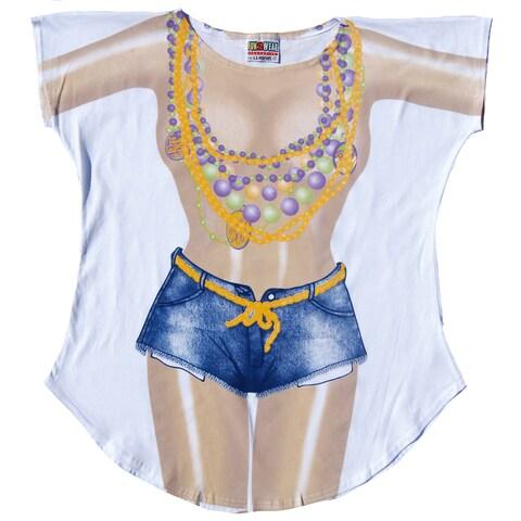 Women's Mardi Gras Fantasy White Cotton Swimsuit Coverup