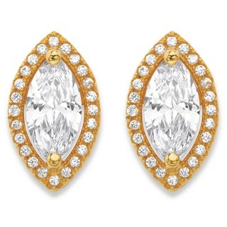 14k Gold over Silver 2 1/3ct TGW Marquise-cut and Round White Cubic Zirconia Halo Stud Ear