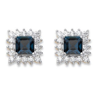 PalmBeach 14k Yellow Gold over Silver 1 1/10ct TGW Princess-cut Blue Crystal and Cubic Zirconia Halo Stud Earrings