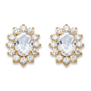 14k Yellow Gold Oval-Cut White Crystal and Cubic Zirconia Halo Stud Earrings