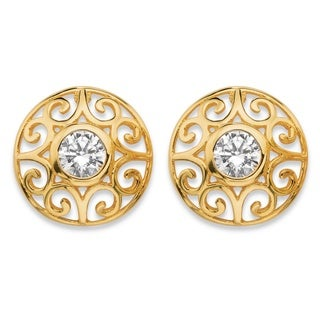 18k Gold Over Sterling Silver 1-carat TW Round Bezel-set Cubic Zirconia Filigree Scroll St