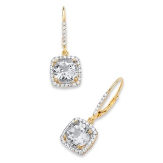 PalmBeach 14k Yellow Gold over Silver 6 1/2ct TGW Round White Cubic Zirconia Halo Drop Earrings