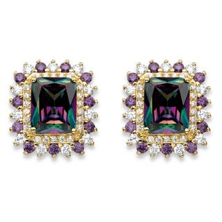 PalmBeach 14k Yellow Gold over Silver 9 2/5ct TGW Emerald-cut Mystic Cubic Zirconia Halo Stud Earrings