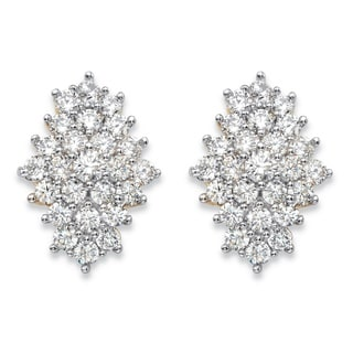 14k Gold over Silver 2 7/8ct TGW Round White Cubic Zirconia Cluster Stud Earrings