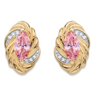 14k Yellow Gold over Silver 2 1/10ct TGW Marquise-cut Pink Cubic Zirconia Ribbon Earrings