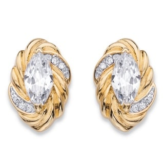14k Yellow Gold over Silver 2 1/10ct TGW Marquise-cut White Cubic Zirconia Ribbon Stud Ear