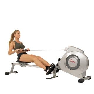 Sunny Health & Fitness SF-RW5612 Dual Function Rowing Machine Rower with LCD Monitor - Silver