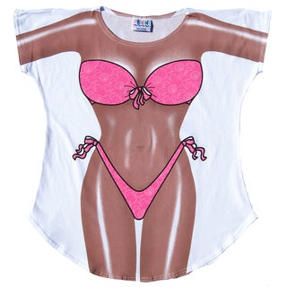 Fantasy Women' Pink Swimsuit White Cotton Cover Up