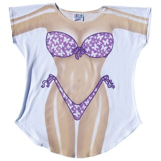 Fantasy Swimsuit White/Purple Cotton Butterfly-print Cover Up