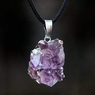 Handmade Silver Suede 'Purple Light Rays' Amethyst Necklace (Brazil)