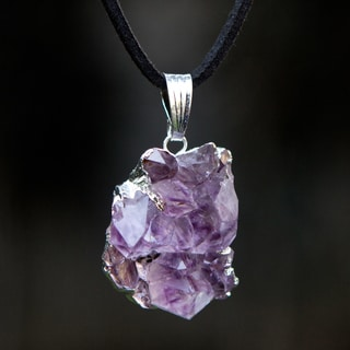 Handcrafted Silver Suede 'Purple Light Rays' Amethyst Necklace (Brazil)