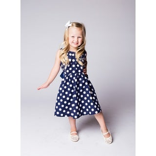 Navy and White Polka Dot Dress