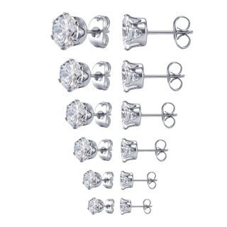 6 Pairs Graduated Cubic Zirconia Stud Earring Set