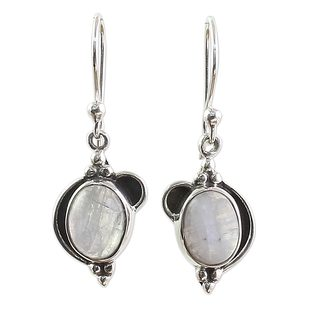 Handcrafted Sterling Silver 'Rainbow Ovals' Rainbow Moonstone Earrings (India)