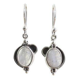 Handmade Sterling Silver 'Rainbow Ovals' Rainbow Moonstone Earrings (India)
