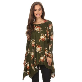 Women's Multicolor Rayon and Spandex Floral Print Tunic
