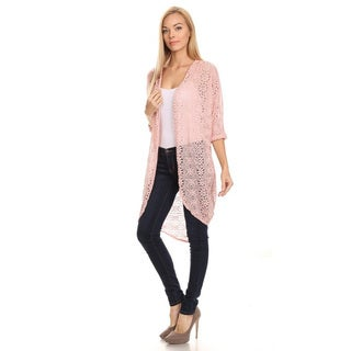 Women's Lace Crochet Pink Nylon/Cotton Cardigan