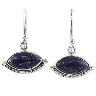 Handcrafted Sterling Silver 'Protective Eyes in Blue' Lapis Lazuli Earrings (India)